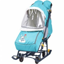 Санки коляска Наши Детки 2 Медвежонок голубой