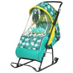 Санки коляска детские Умка 3 Мишки изумруд