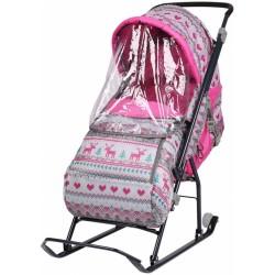 Санки коляска детские Умка 3 Вязанный розовый