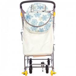 Санки коляска Ника Наши Детки голубой с колесами