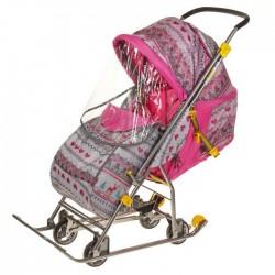 Санки коляска Умка 3 - 1 Вязанный розовый