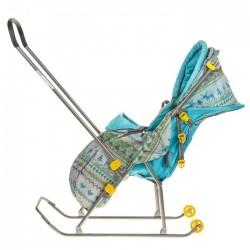 Санки коляска Умка 3 Вязанный бирюза