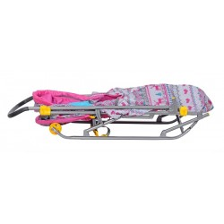 Санки коляска Умка 3 Вязанный розовый