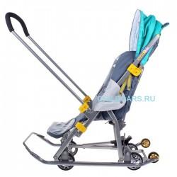Санки коляска Ника Детям 7 Мишка изумрудная